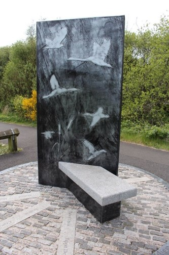 Castle semple loch feature bird inspired bench
